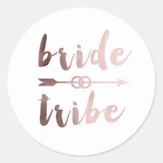 elegant rose gold bride tribe arrow wedding rings classic round sticker