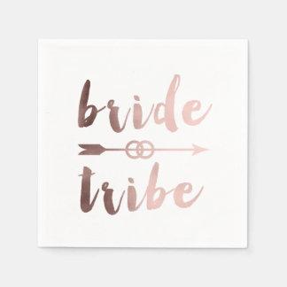elegant rose gold bride tribe arrow wedding rings disposable napkin