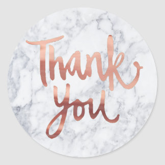 elegant rose gold calligraphy thank you on marble classic round sticker