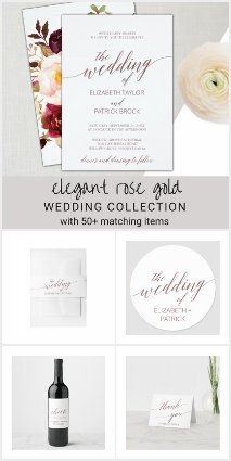 Elegant Rose Gold Calligraphy Wedding Collection