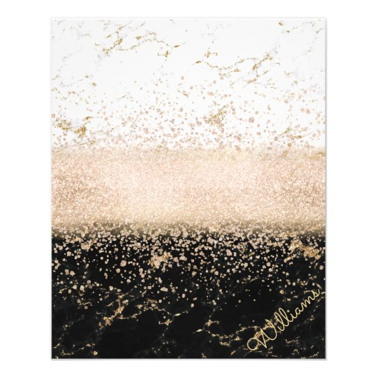 Elegant rose gold confetti marble design flyer