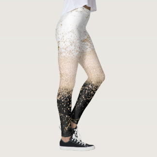 Elegant rose gold confetti marble design leggings