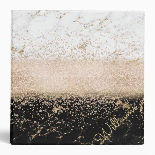 Elegant rose gold confetti marble design vinyl binder