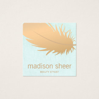 Elegant Rose Gold Feather Turquoise Blue Linen Square Business Card