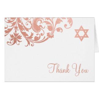 Elegant Rose Gold Flourish Bat Mitzvah Thank You Card