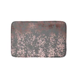 elegant rose gold foil and grey brushstrokes bath mat