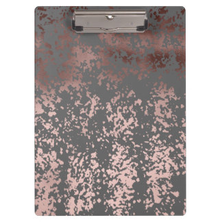 elegant rose gold foil and grey brushstrokes clipboards