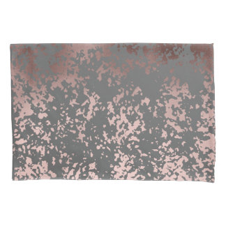 elegant rose gold foil and grey brushstrokes pillowcase