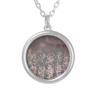 elegant rose gold foil and grey brushstrokes silver plated necklace