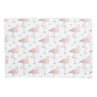 elegant rose gold foil flamingos mint polka dots pillowcase
