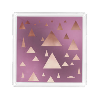 elegant rose gold foil geometric triangles acrylic tray