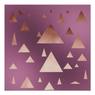 elegant rose gold foil geometric triangles poster