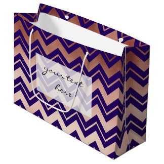 elegant rose gold foil navy blue chevron pattern large gift bag