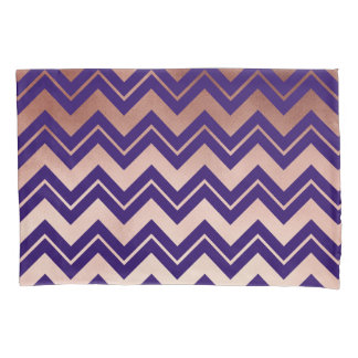 elegant rose gold foil navy blue chevron pattern pillowcase