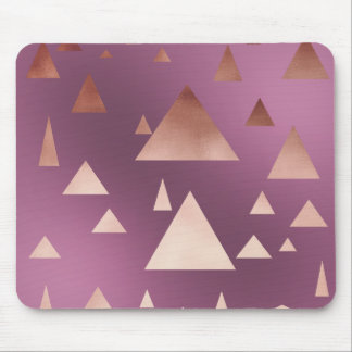 elegant rose gold geometric triangles pattern mouse pad