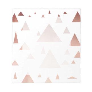 elegant rose gold geometric triangles pattern notepad