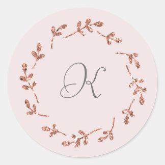 Elegant Rose Gold Glitter Initial Sticker