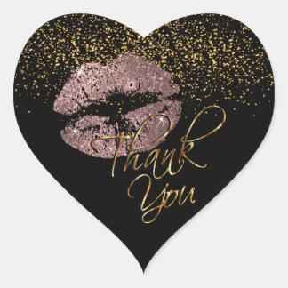 Elegant  Rose Gold Glitter Lipcolor - Thank You Heart Sticker