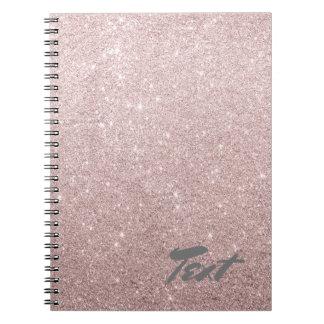 elegant rose gold glitter notebooks