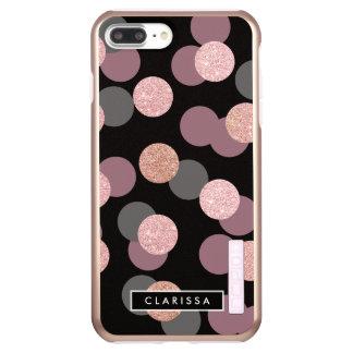elegant rose gold glitter pastel pink confetti incipio DualPro shine iPhone 7 plus case