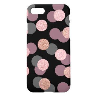 elegant rose gold glitter pastel pink confetti iPhone 8/7 case