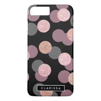elegant rose gold glitter pastel pink confetti iPhone 8 plus/7 plus case