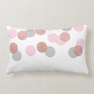 elegant rose gold glitter pastel pink confetti lumbar pillow