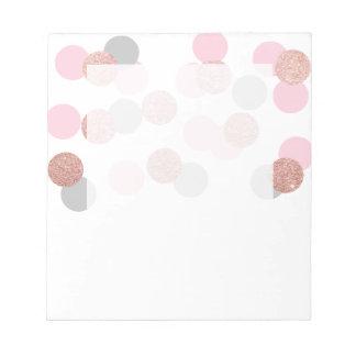 elegant rose gold glitter pastel pink confetti notepad