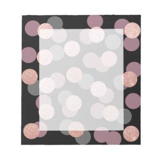 elegant rose gold glitter pastel pink confetti notepads