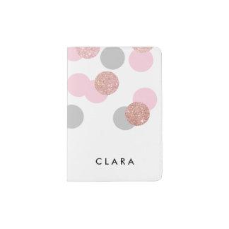 elegant rose gold glitter pastel pink confetti passport holder