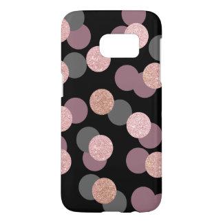 elegant rose gold glitter pastel pink confetti samsung galaxy s7 case