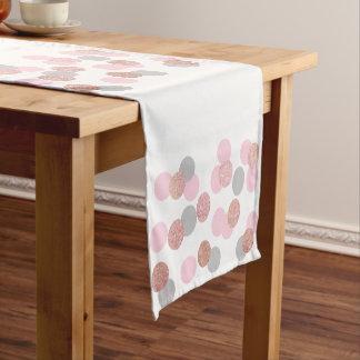 elegant rose gold glitter pastel pink confetti short table runner