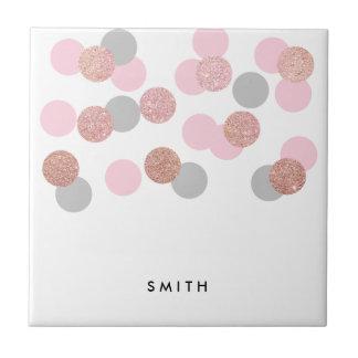 elegant rose gold glitter pastel pink confetti tile