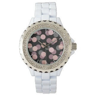 elegant rose gold glitter pastel pink confetti watch