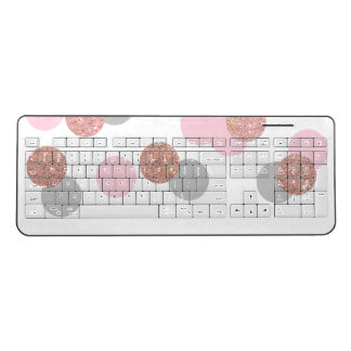 elegant rose gold glitter pastel pink confetti wireless keyboard