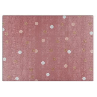 elegant rose gold glitter pink polka dots pattern cutting board