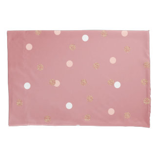 elegant rose gold glitter pink polka dots pattern pillowcase