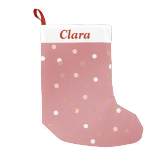 elegant rose gold glitter pink polka dots pattern small christmas stocking