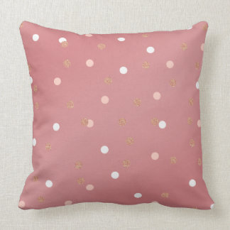 elegant rose gold glitter pink polka dots pattern throw pillow