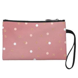 elegant rose gold glitter pink polka dots pattern wristlet