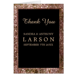 Elegant Rose Gold Glitter Wedding Thank You Card
