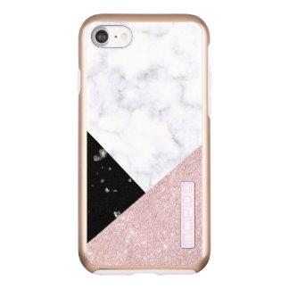 Elegant rose gold glitter white black marble incipio DualPro shine iPhone 8/7 case