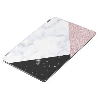Elegant rose gold glitter white black marble iPad air cover