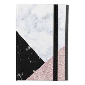 Elegant rose gold glitter white black marble iPad mini 4 case