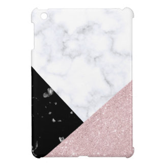 Elegant rose gold glitter white black marble iPad mini cases