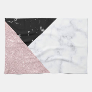 Elegant rose gold glitter white black marble kitchen towel