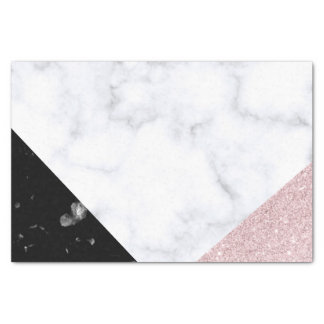 Elegant rose gold glitter white black marble tissue paper