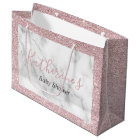Elegant rose gold glitter white marble baby shower large gift bag
