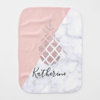Elegant rose gold glitter white marble blush pink burp cloth