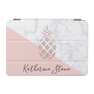 Elegant rose gold glitter white marble blush pink iPad mini cover